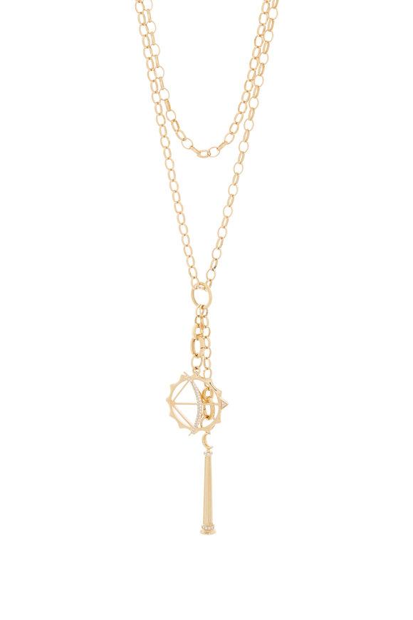 Monica Rich Kosann Yellow Gold Athena & Apollo Charm Belcher Necklace