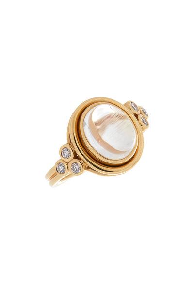 Temple St. Clair - 18K Yellow Gold Classic Diamond & Moonstone Ring