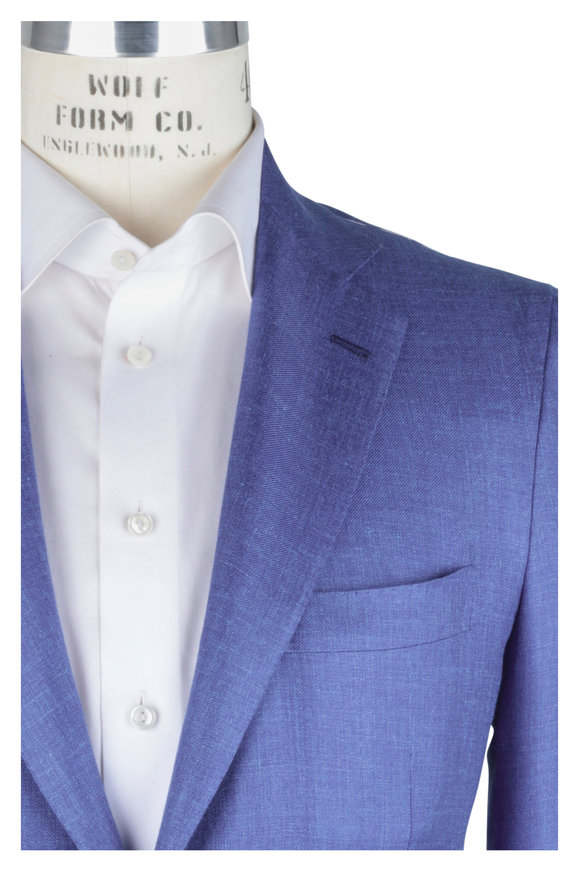 Kiton Royal Blue Cashmere, Linen & Silk Sportcoat