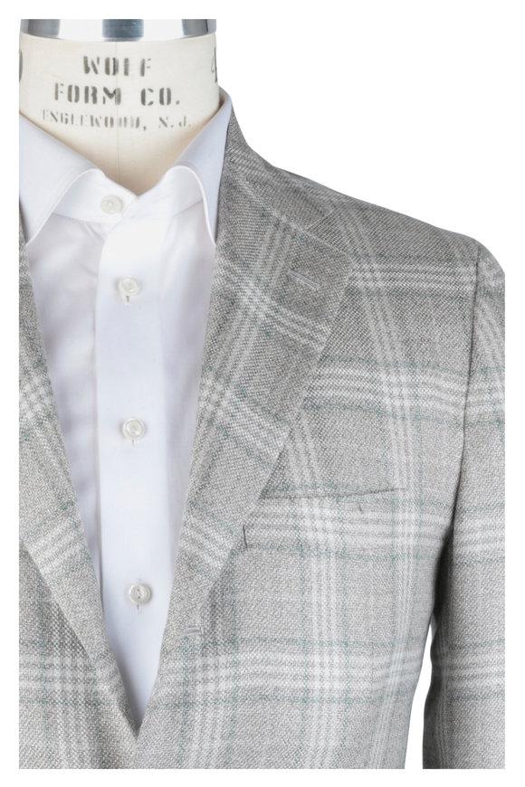 Kiton Tan & Green Windowpane Cashmere Blend Sportcoat