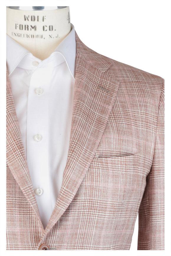 Kiton Tan & Pink Plaid Silk Blend Sportcoat