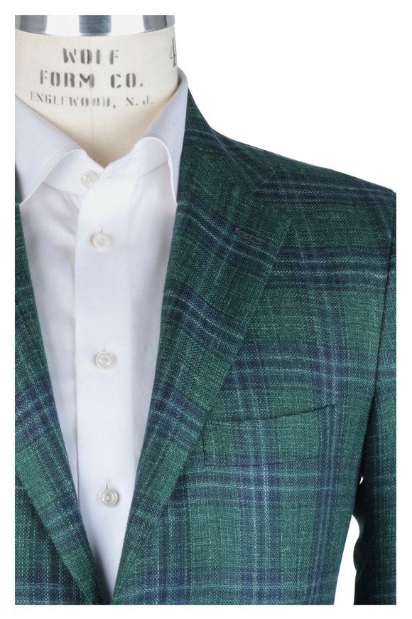 Kiton Green & Blue Plaid Cashmere Blend Sportcoat