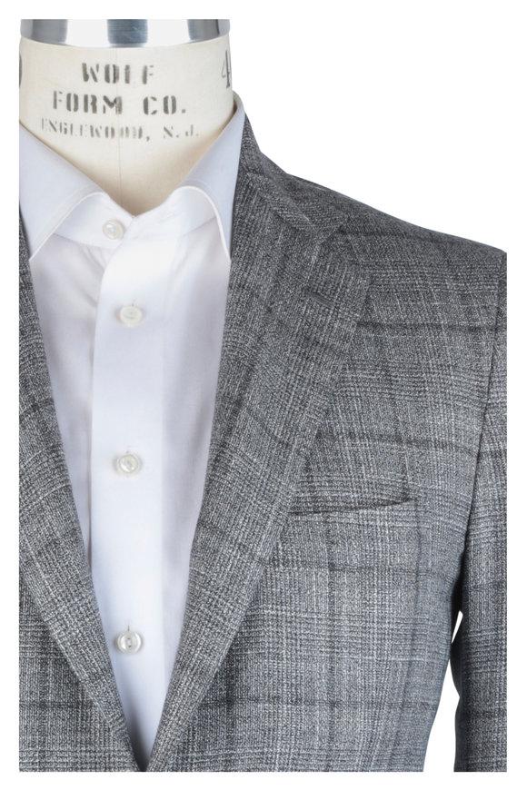 Kiton Gray Plaid Cashmere Blend Sportcoat