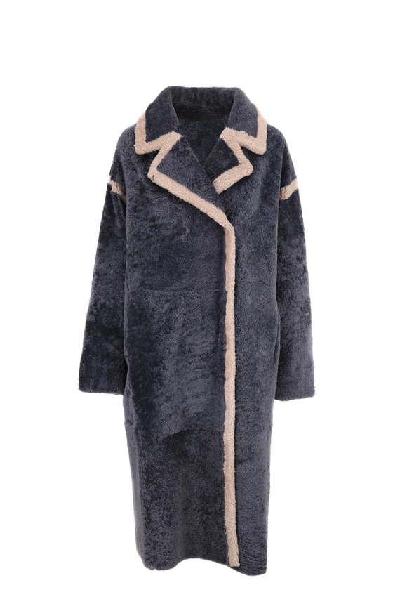 Viktoria Stass Denim Blue & Cream Shearling Reversible Coat
