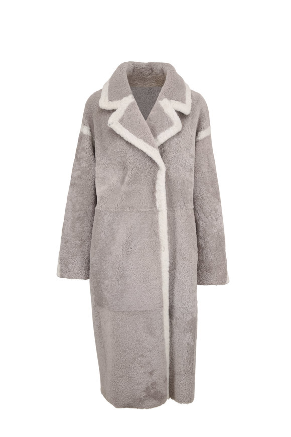Viktoria Stass Gray & White Shearling Reversible Coat