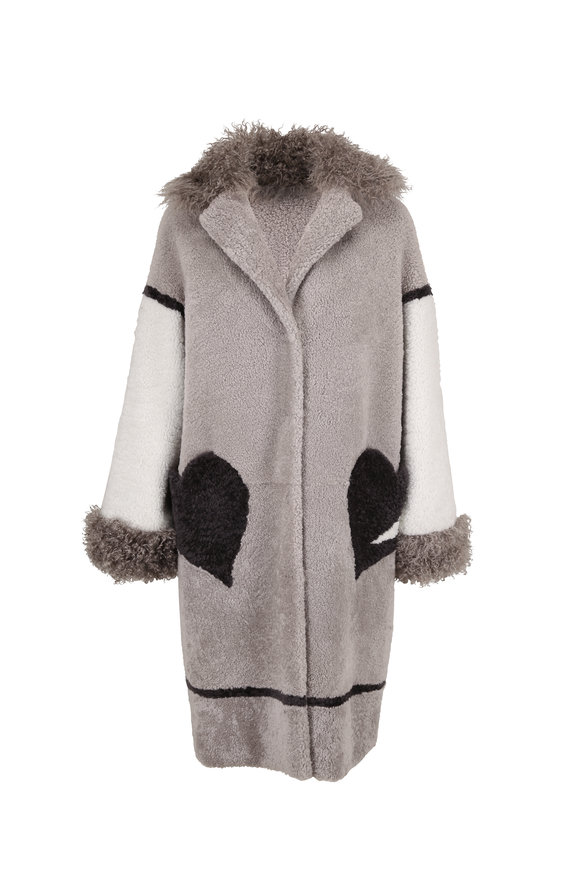 Viktoria Stass Grey, White & Black Shearling Heart Pocket Coat