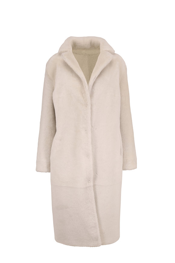 Viktoria Stass Cream Merino Shearling Reversible Coat