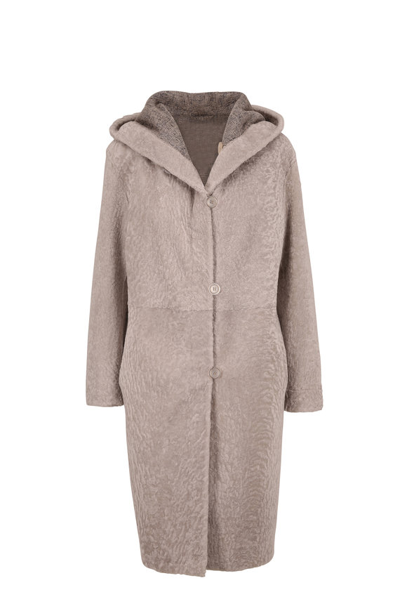Viktoria Stass Gray Hooded Shearling Coat