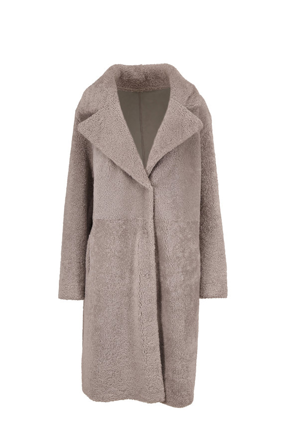 Viktoria Stass Gray Shearling Reversible Coat