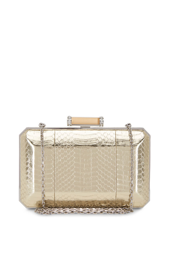 Judith Leiber Couture Soho Champagne Snakeskin Crystal Detail Clutch