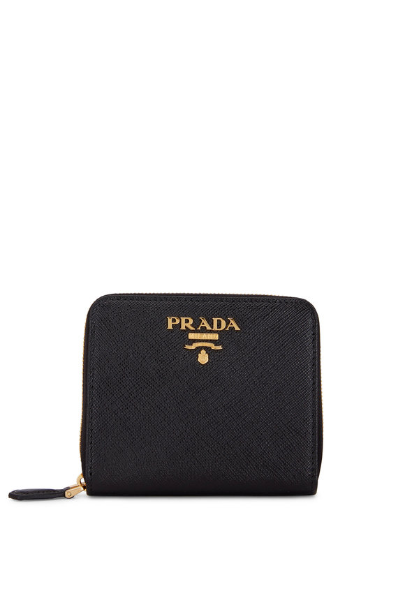 Prada Black Saffiano Leather Zip-Around Wallet