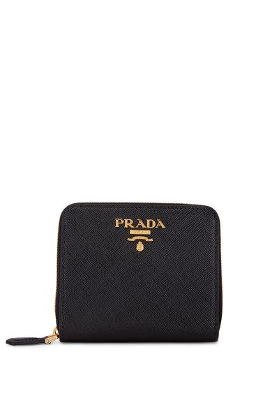 Prada - Black Saffiano Leather Zip-Around Wallet