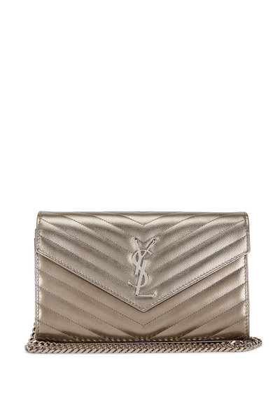 Saint Laurent - Silver Quilted Leather Monogram Chain Wallet