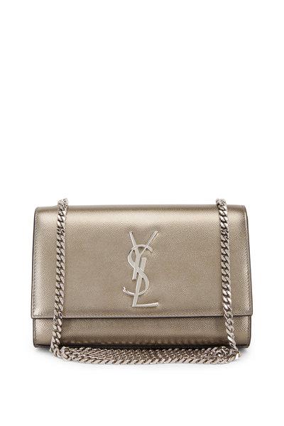 Saint Laurent - Kate Silver Grained Leather Monogram Crossbody Bag