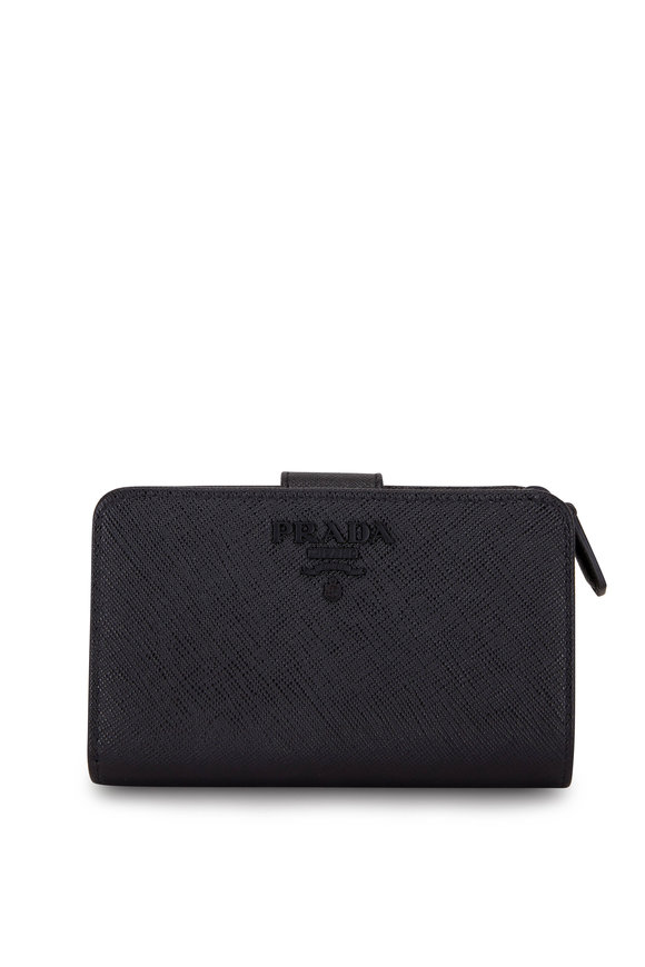 Prada Black Saffiano Leather French Wallet