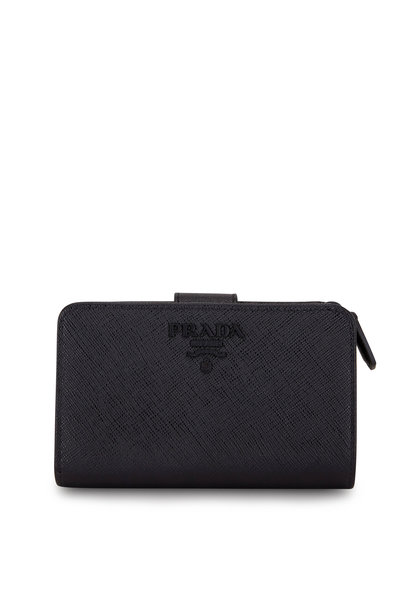 Prada - Black Saffiano Leather French Wallet