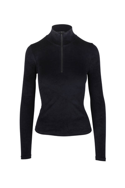 John Elliott - Black Velvet Jersey Quarter-Zip Top