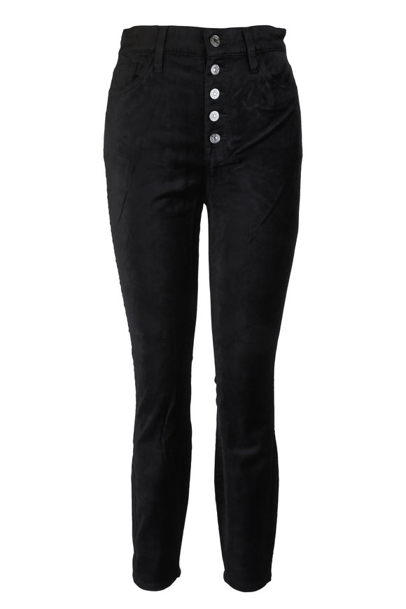 7 For All Mankind Black Velvet Skinny Five Pocket Jean