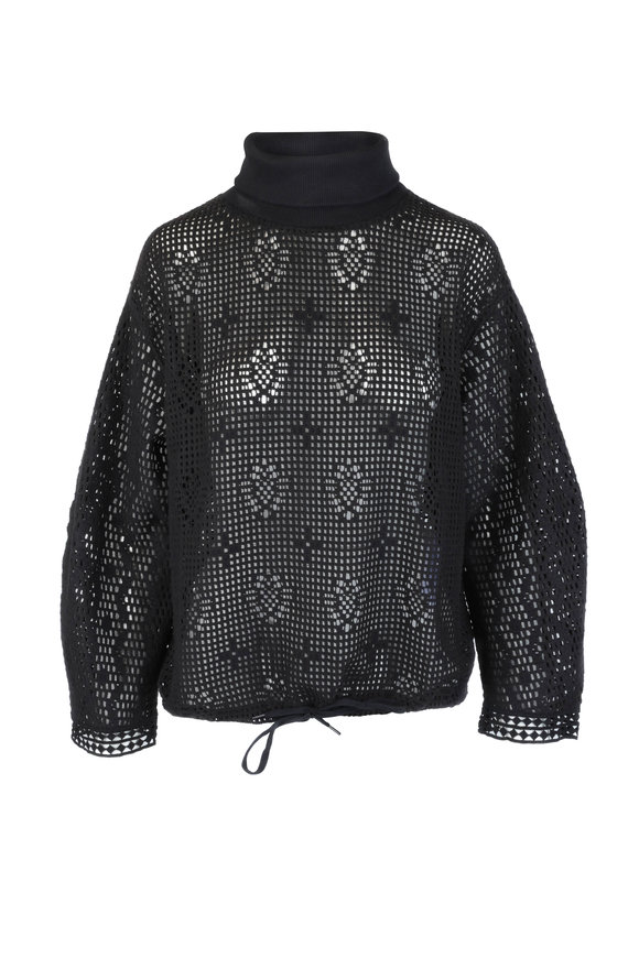 See by Chloé Black Open Weave Turtleneck Top