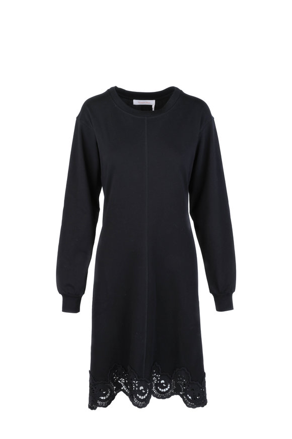 See by Chloé Black Lace Hem Sweater Dress