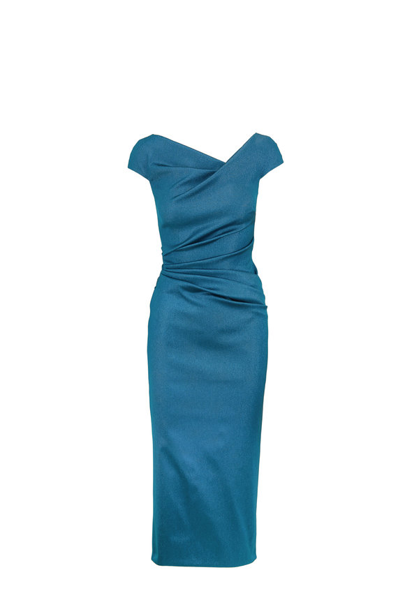 Talbot Runhof Roya1 Metallic Teal Off-The-Shoulder Dress