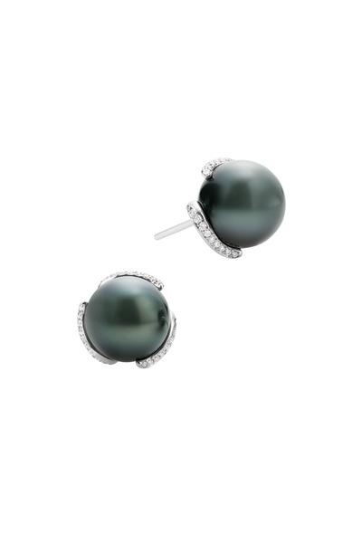 Mikimoto - White Gold Black Pearl White Diamond Earrings