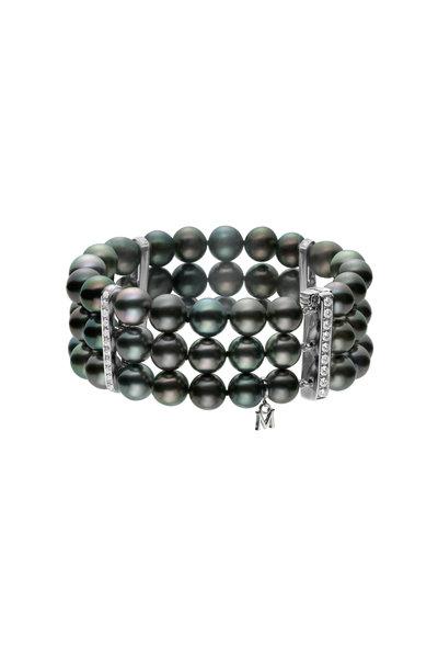 Mikimoto - White Gold Black Pearl Diamond Bracelet