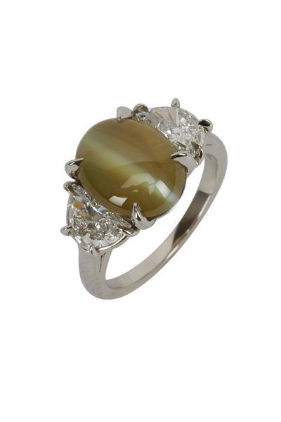 Oscar Heyman - Platinum Cat's Eye Diamond Ring