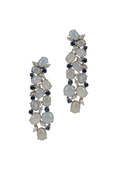 Oscar Heyman - Platinum Star Sapphire Diamond Earrings