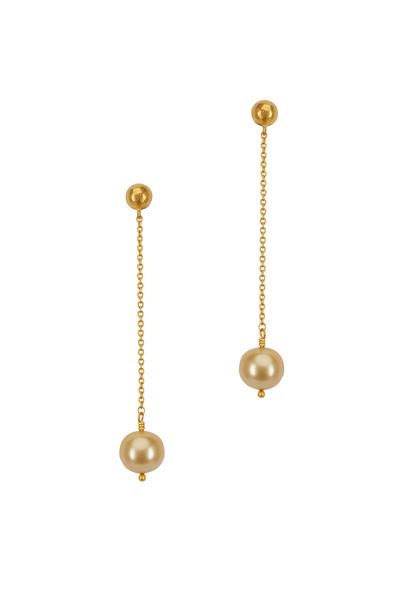 Yossi Harari - Mica Yellow Gold Pearl Dangle Chain Earrings