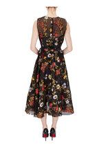 Oscar de la Renta - Black Floral Embroidered Chiffon Sleeveless Dress