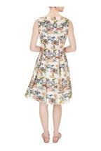 Oscar de la Renta - Ivory Embroidered Fit & Flare Sleeveless Dress