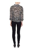 Saint Laurent - Black & White Tiger Print Tie Front Blouse