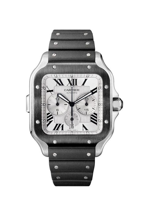 Cartier Steel Santos De Cartier Chronograph Watch