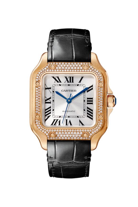 Cartier Pink Gold & Diamonds Santos De Cartier Watch
