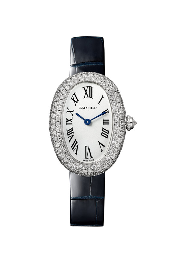 Cartier Rhodiumized White Gold Baignoire Watch