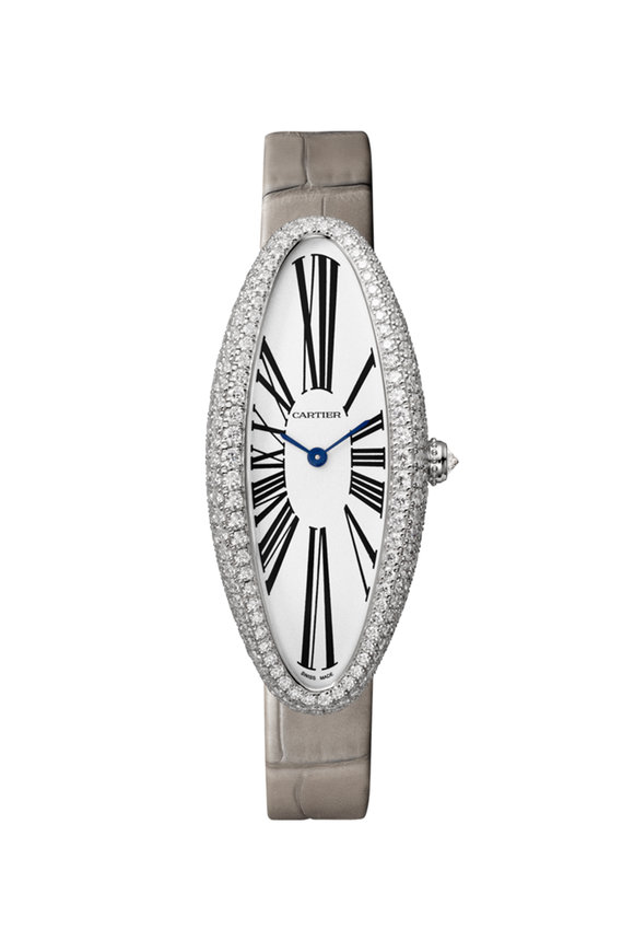 Cartier Rhodiumized White Gold Baignoire Allongée Watch