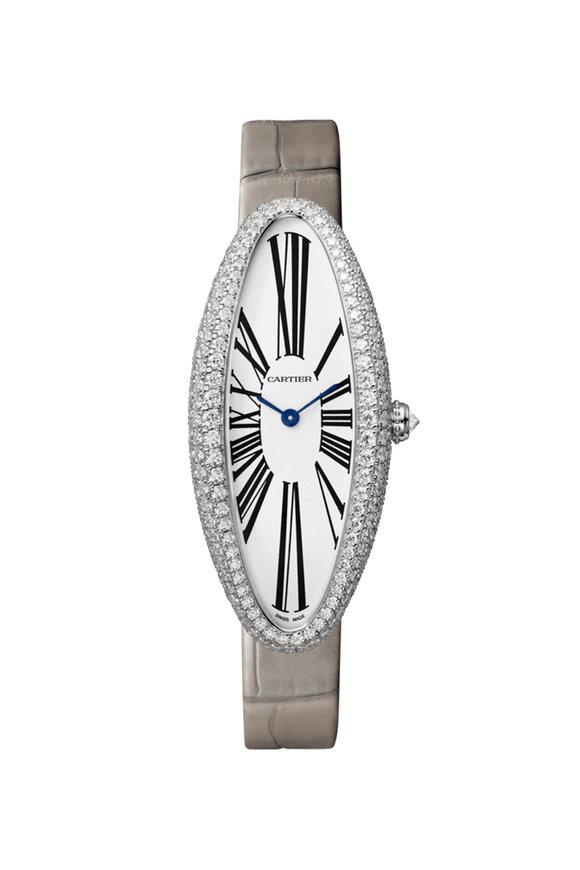 Cartier Rhodiumized White Gold Baignoire Allongée Watch