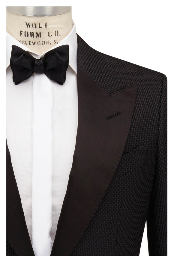 Tom Ford Charcoal Honeycomb Cotton & Silk Dinner Jacket
