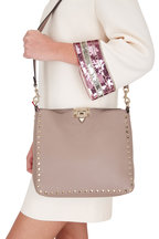 Valentino Garavani - Rockstud Clay Leather Small Hobo Crossbody