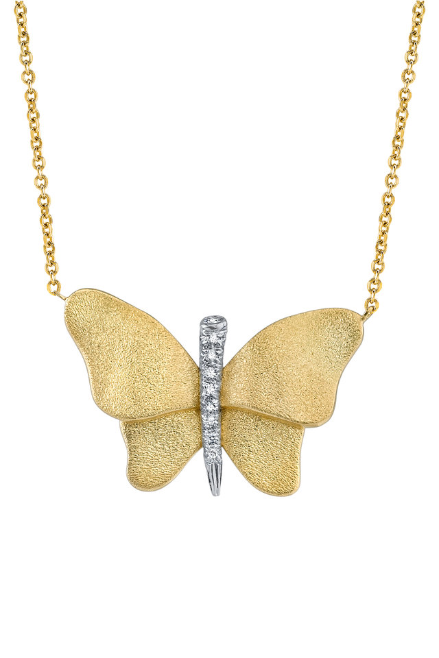 Yellow Gold Diamond Butterfly Necklace