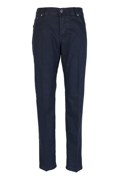 Kiton - Navy Blue Tonal Herringbone Five Pocket Pant