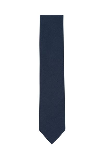 Brioni - Navy Blue Silk & Linen Necktie