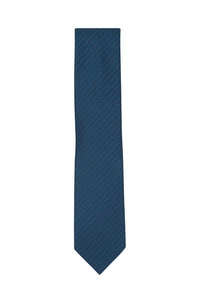 Brioni - Teal & Blue Herringbone Silk Necktie