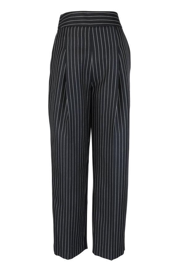 Oscar de la Renta Blue & White Wool Blend Pinstriped Pant