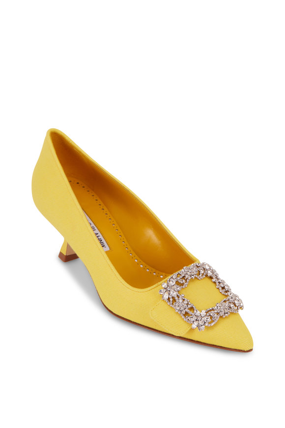 Manolo Blahnik Maysale Yellow Jewel Brooch Pump, 50mm