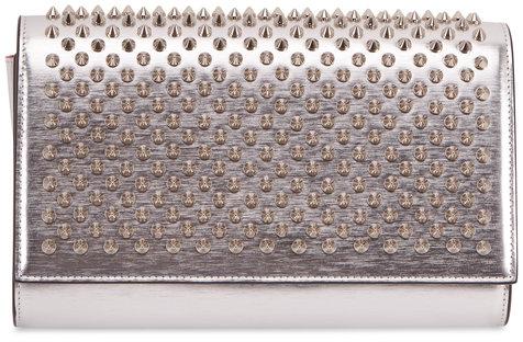 Christian Louboutin Paloma Metallic Silver Spiked Clutch