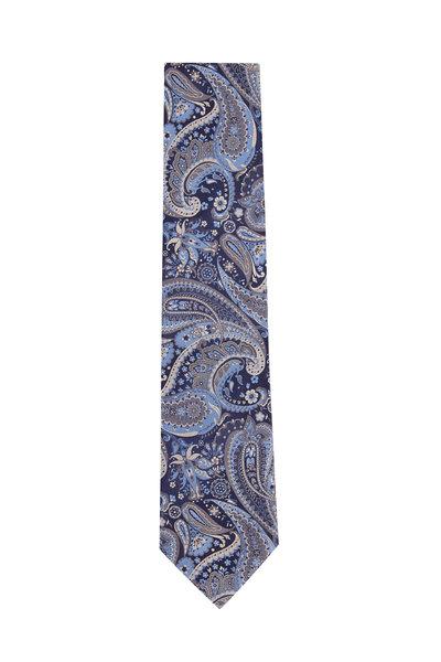 Brioni - Navy Blue Paisley Silk Necktie