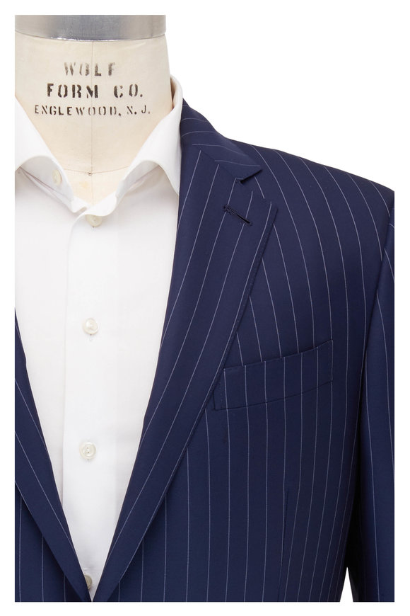 Ermenegildo Zegna Navy Blue Pinstriped Wool Suit