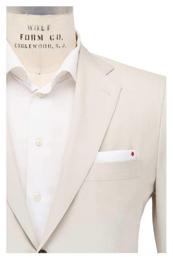 Kiton Solid Stone Cotton Suit